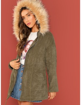 Faux Fur Hooded Drawstring Waist Corduroy Coat by Shein
