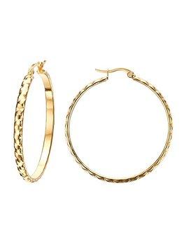 Vnox 2/3/4/5 Pair Set Fashion Stainless Steel 18 K Gold Plated Large Hoop Wedding Earrings For Women Girls by Vnox