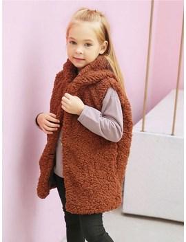 Toddler Girls Faux Fur Hooded Vest Jacket by Sheinside