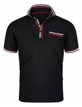 Men's Casual Short Sleeve Fitted Polo T Shirt Stylish Collared Solid Golf Tee by Trensom