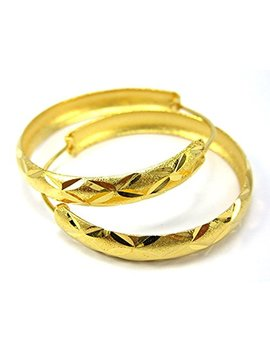 Hoops 3.5 Cm 18k 22k 24k Thai Baht Yellow Gold Plated Filled Earrings by Arrawana77