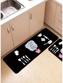 Tableware Print Floor Mat by Sheinside
