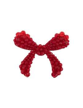 Red Crystal Embellished Velvet Bow Brooch by Simone Rocha