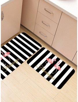 Flamingos Pattern Striped Floor Mat by Sheinside