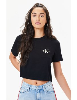 Calvin Klein Monogram Cropped T Shirt by Pacsun