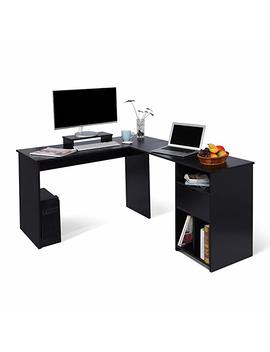 Ej. Life L Shaped Office Computer Desk, Large Corner Pc Table With Monitor Stand For Home And Office Use,Black Wood Grain(2 Carton Packages) by Ej. Life
