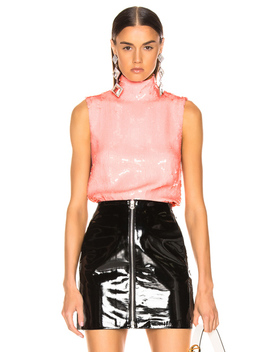 Beaded Turtleneck Shell Top by Tibi