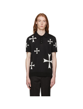 Black & White Knit Crosses Polo by Neil Barrett