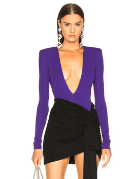 Stretch Jersey Plunging Bodysuit by Alexandre Vauthier