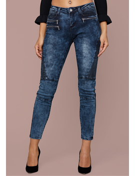 Zip Trim Moto Skinny Jeans by Bebe
