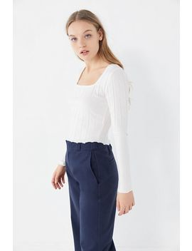 Uo Mabel Lettuce Edge Square Neck Top by Urban Outfitters