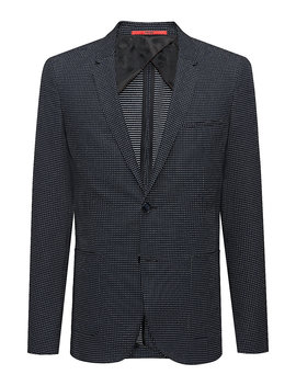 Extra Slim Fit Micro Pattern Jacket In A Stretch Cotton Blend by Boss
