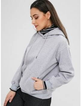 Pocket Fleece Pullover Hoodie   Gray S by Zaful