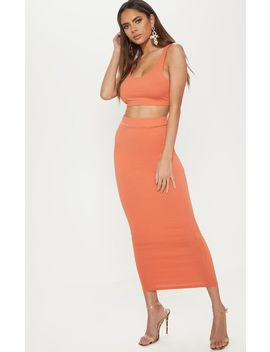 Burnt Orange Second Skin Bodycon Midaxi Skirt by Prettylittlething