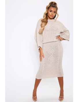 Stone Knitted Jumper And Skirt Co Ord by I Saw It First