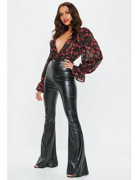 Black Faux Leather Flared Trousers by Missguided