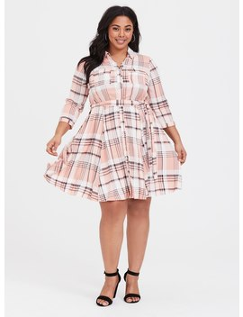 Pink Plaid Challis Shirt Dress by Torrid