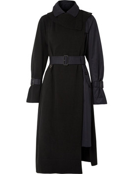 Wool And Cotton Gabardine Trench Coat by Sacai
