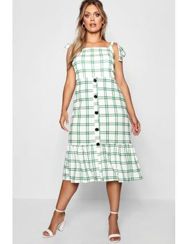 Plus Jill Woven Check Button Midi Dress by Boohoo