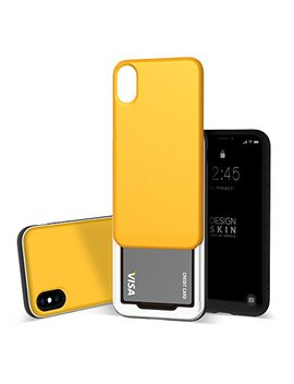 Design Skin I Phone Xs Case [Slider] [Sliding Card Holder Slot] Extreme Heavy Duty 3 Layer Bumper Protection Shock Absorption Shockproof Wallet Cover Case For I Phone X & Xs   Yellow/Black by Design Skin