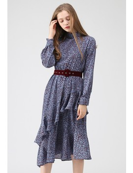 Leaf Gathering Asymmetric Frilling Dress In Blue by Chicwish