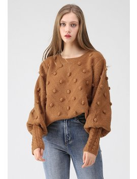 Still In Love Pom Pom Knit Sweater In Caramel by Chicwish