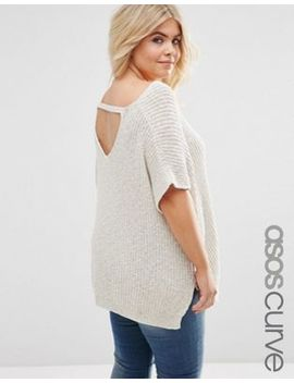 Asos Curve Sleeveless Chunky Knit Top With V Back & Sides Splits by Asos Curve