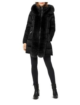 Fox Fur Placket Puffer Coat by One Madison