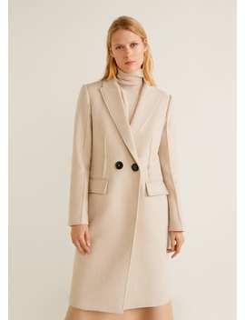 Płaszcz Z Kontrastowymi Guzikami by Mango