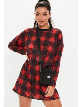 Red Check Print Oversized T Shirt Dress by Missguided