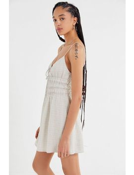The East Order Wave Smocked Tie Front Mini Dress by The East Order