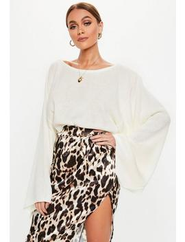 Tall Cream Extreme Wide Sleeve Crop Jumper by Missguided
