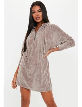 Grey Zip Front Hooded Velour Jumper Dress by Missguided