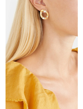 Ingranaggio Gold Tone Pearl Earrings by Rosantica