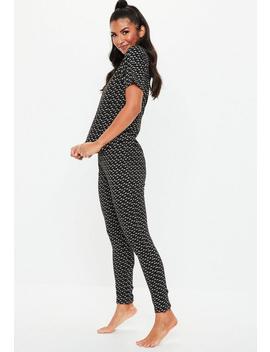 Black M Print T Shirt & Leggings Pyjama Set by Missguided
