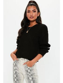 Black Waffle Stitch Balloon Sleeve Jumper by Missguided