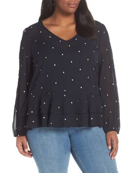 Embroidered Dot Ruffle Hem Blouse by Halogen®