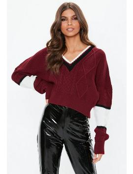 Petite Burgundy V Neck Colourblock Cable Jumper by Missguided