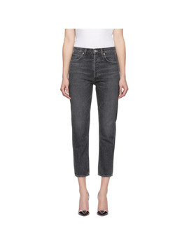 Black High Rise Straight Cropped Charlotte Jeans by Citizens Of Humanity