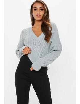 Tall Grey V Neck Cable Knitted Cropped Jumper by Missguided