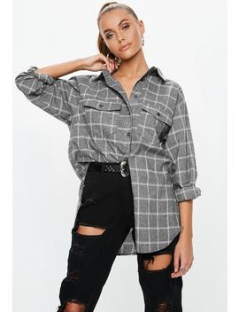 Grey Oversized Checked Shirt by Missguided