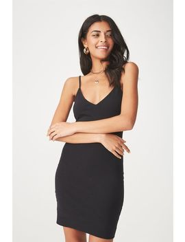 Deep V Double Layer Mini Dress by Cotton On