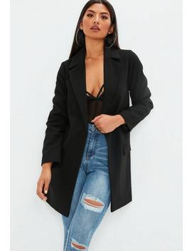 Black Button Front Slim Coat by Missguided