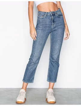 Moto Mid Blue Straight Jeans by Topshop