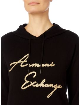 Long Sleeve Foil Logo Hooded Jumper by Armani Exchange