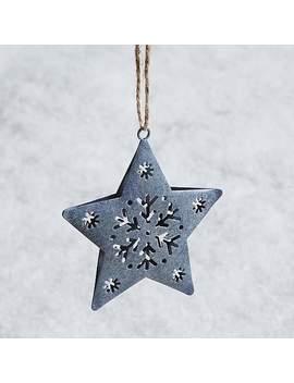Grey Metal Star Decoration by Dunelm