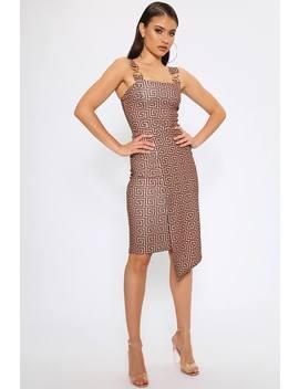 Brown Greek Print Buckle Asymmetric Midi Dress by I Saw It First