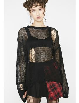 Tattered Mesh Hole Loose Sweater by Punk Rave