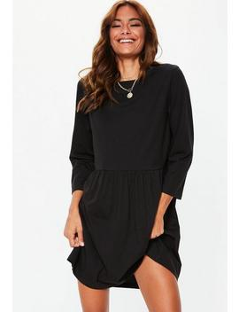 Black Plain Long Sleeve Smock Dress by Missguided