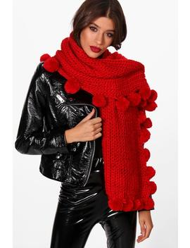Pom Pom Edge Knitted Scarf by Boohoo